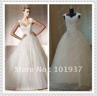 Free Shipping Custom ES04 Actual Popular Cap Sleeve Elie Saab Appliques Bridal Gowns Wedding Dress