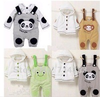 Thicken for winter!!! Baby girls boys suit infant clothing set jacket+suspender trousers with cartoon styles panda frog monkey.