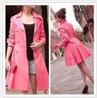 New style in 2012  Double breasted skirt pendulum long sleeve dust coat OL sweet grows dress coat