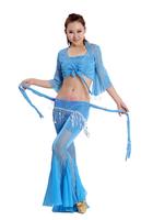 Flash yarn belly dance set performance wear leotard piece set