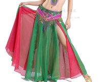 Belly dance set two-color vent skirt cummerbund