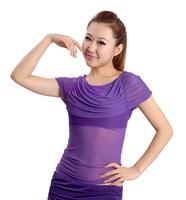 Belly dance clothes top bubble short-sleeve dance practice top indian dance leotard