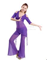 Short-sleeve dance upperwear boot cut practice service usuginu culottes waist skirt