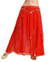 Belly dance skirt yellow expansion skirt belly dance coins long tulle dress dance full dress