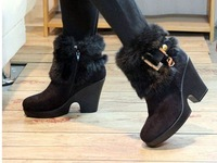 new Metal sequins feather wedge short boots high with bare boots female boots