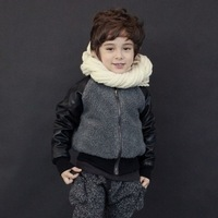 (In Stock)New Design Child Boys Winter Wadded Outerwear Warm Faux Leather Jacket Supply For Children&Baby&Kids,Free Shipping