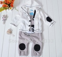 Retail Spring Autumn Thin section Baby girls boys suit jacket + suspender trousers baby clothes set with panda frog monkey style