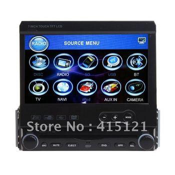 1 Din Universal Car DVD GPS 7inch Motorized HD touch screen Auto Radio Car Audio Ipod Bluetooth TV ipod Detachable Panel