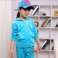 2012 velvet child long-sleeve sports set child set