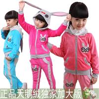 2012 new arrival child set autumn baby outerwear sportswear velvet plus size female child set