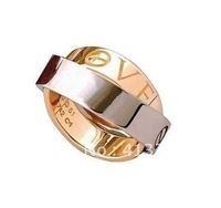 Exquisite 18K Rose Gold LOVE RING,Timeless Interlocking Designs Ring,Unique LEVE Elements Ring For Lovers,Witness Your Ture Love