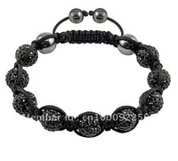 Lose moeny High-quality Black 10MM noble Rhinestone disco ball Shamballa Bracelets SHB003