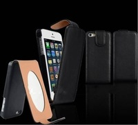 New Arrival Make-up Mirror Flip Leather Holder PU Case For Iphone 5 5G 50 pcs/lot