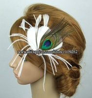 Peacock, Ostrich and Goose Feather Flower Rhinestone Centered Wedding Bridal Hair Clip Fascinator 10pcs/lot