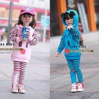 Spring Autumn Stripe Cartoon medium-long Sweatshirt Legging Child Casual set Kids suits Girls 2pcs set Tracksuit