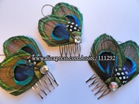 Peacock Feather Hair Comb, Fascinator bride wedding hair piece hair comb 14pcs
