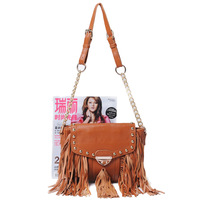 2012 new arrival fashion genuine leather   cowhide   tassel fashion cross-body shoulder  8866 handbags women bag free shipping