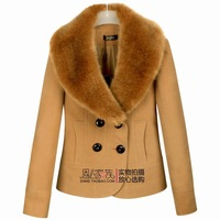 Женская одежда из шерсти 2012 women's boutique woolen outerwear slim overcoat double breasted medium-long fur collar