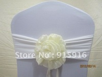 white spandex bands with different colors of organza flower in cream