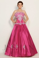 11G028 Strapless Beading Applique Hot Pink Elastic Woven Satin Gorgeous Luxury Brilliant Quinceanera Dress Ball Gown Dresses
