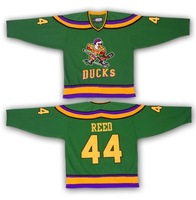 Christmas Gifts FULTON REED #44 Mighty Ducks Movie  Ice Hockey Jerseys Stitch Sewn Green Mix order
