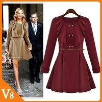 Free Shipping casual dress pendulum retro gray skirt style pleated evening dress wild lace pleated black dress women V-8035