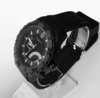 Hot-selling Fashion large Size Men's Quartz Watch,Black Case, Rubber strap,Free shipping.