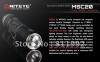 Free shipping Niteye MSC20 Cree XM-L U2 18650 CR123A SS Bezel Magnetic Control LED Flashlight