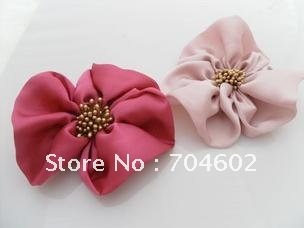 "3.9"" Hair Accessories Fabric Flower Hair Accessories Manual hair big trefoil flowers without clip 50pcs/lot Free Shipping F83"