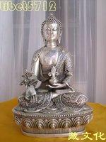 "8"" Tibetan Buddhist bronze coated silver Healing Medicine buddha with dragon statue free shipping"