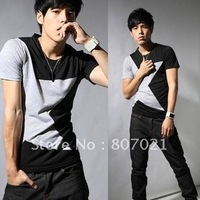 The five-pointed star splicing round collar cotton T-shirt man half sleeve