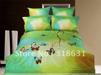 4pc oil painting Spring bedding bed linen full/queen duvet quilt cover set flying butterflies home textile Alternative comforter