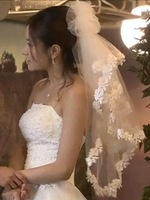 Free Shipping 1.5m Wedding Veils Lace Edge Cheap Veil Hot Sale Top Quality Lace Veils Fast Shipping -V4