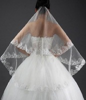 Fast Free Shipping 2m Wedding Veils Lace Edge Cheap Veil Hot Sale Top Quality Finger Length Lace Veils 2 Colors Available -V8