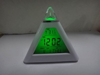 free shipping Pyramid Digital Alarm Clock thermometer color Light LED  Clock