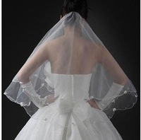 Free Shipping 1.5m Wedding Veils One-layer Butterfly Tie Beaded Edge Hot Sale Top Quality Veils Fast Shipping -V9