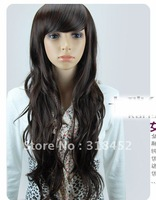 Free Shipping//New Synthetic822# Lady New Synthetic Lady Dark/Light Brown Long Curly Women Breathable  Lace Front Wigs