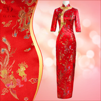 Cheongsam wedding dress vintage long design long-sleeve three quarter sleeve evening dress autumn and winter long Qipao 5104 - 1