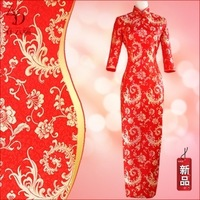 Cheongsam three quarter sleeve marriage vintage long design winter wedding evening formal dress cheongsam long-sleeve bridal