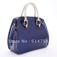Navy blue mmobile women's handbag japanned leather patent leather women's handbag messenger bag 2012 e07