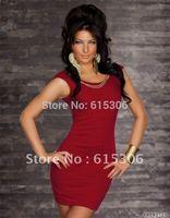 High quality women Brand halter fashion sexy beauty clubbing wear fancy dress lady club wear wholesale free shipping Black red