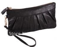 Black A grade Cow leather clutch purse  evening bag change purse coin purse
