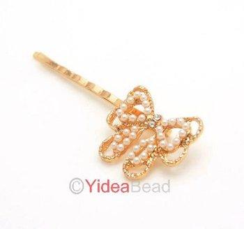 Fishion Cute 6pcs Chic Fashion Butterfly Pearl Hair Clip Hair Accessories for Girls 261184