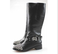 new boots 2013,middle heel boot with rivets,genuine leather woman fashion boots black,mid-calf Motorcycle boots,size34-42