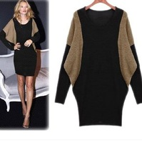 Holiday sale Batwing Long-sleeve Dress Fashion Women's Plus Size Slim Hip Knitted Dress Autumn and Winter
