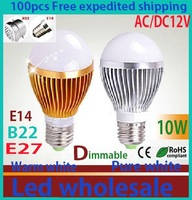 100pcs 10W 700LM NEW AC/DC12V Dimmable by DHL/Fedex shipping golden/silver led globe bulb E27/E14/B22 lamp