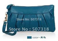 Blue Cow leather  clutch evening bag change purse coin purse