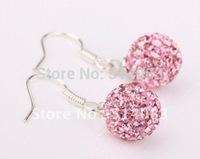 Wholesale Pink  Pave Clay Disco Ball Fashion Style Shambhala Drop Earring earrings for women