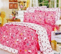 New Beautiful 4PC 100% Cotton Comforter Duvet Doona Cover Sets FULL / QUEEN / KING SIZE bedding set 4pc cartoon pink hello kitt