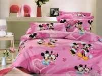 New Beautiful 4PC 100% Cotton Comforter Duvet Doona Cover Sets FULL / QUEEN / KING SIZE bedding set 4pc pink Happy Mickey Mouse